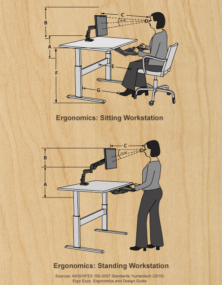 Ergonomics Sitting/Staning Illustration