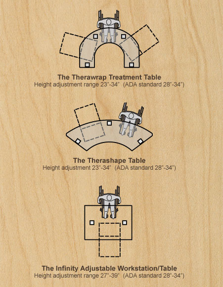 Table diagrams for wheelchair placement