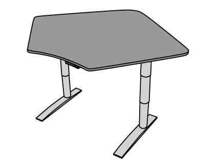 Vox Adjustable Corner Workstation Single Surface