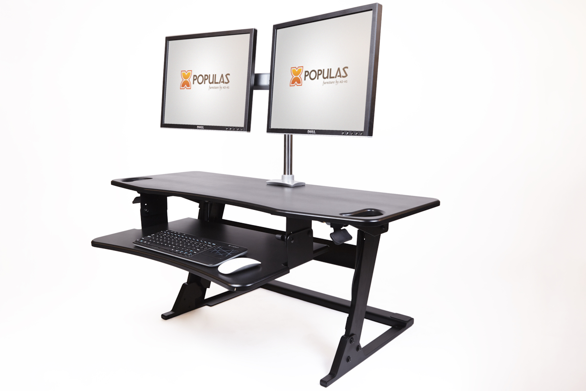 Elevo-4224 Sit-to-Stand Desktop with Dual Monitor Arm